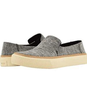 TOMS Sunset Slipon Sneaker-Black Slub Chambray 6.5